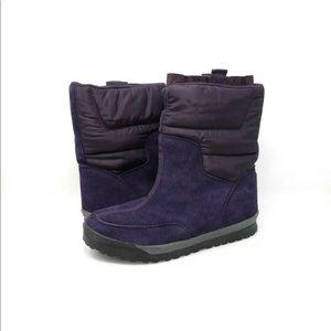 Lands End Winter Boots Purple Suede Mid Calf